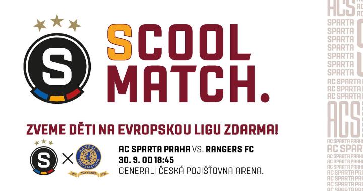 SCool match.: AC Sparta Praha zve děti na Evropskou ligu zdarma